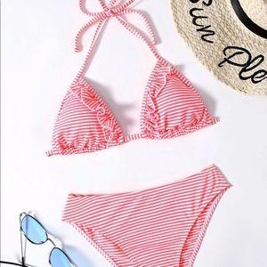 Red Striped Ruffle Halter Bikini